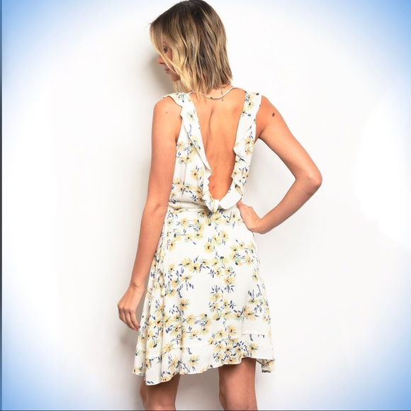 f718da1722bf HONEY BELLE RUFFLE FLORAL WRAP DRESS